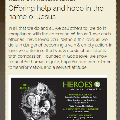 Jesus Center Chico Responsive Design
