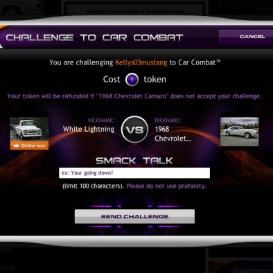 Challenge Another User to a Car Combat