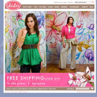 LuLus Home Page Design